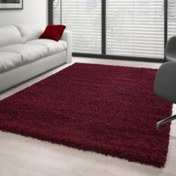 Hochflor Langflor Teppich Shaggy Unifarbe Rot
